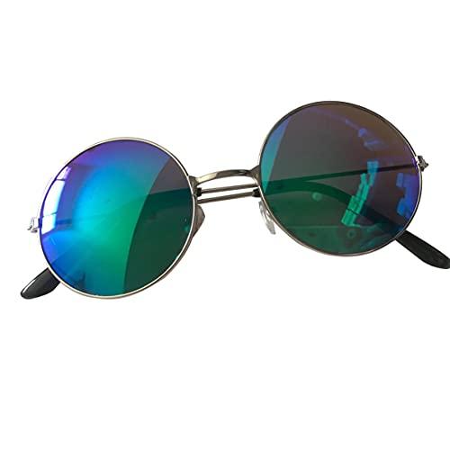 Rendeyuan UV400 Vintage Mujer Hombre Calidad Lente de Espejo Colorida Gafas Redondas Marco de Aluminio Duradero Gafas de Sol de protección UV400 - Azul
