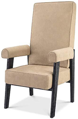 Casa Padrino sillón de Lujo de Piel Genuina con Respaldo Alto Beige/Negro 70 x 78 x A. 123 cm - Sillón de salón con Cuero Fino de búfalo - Muebles de Lujo