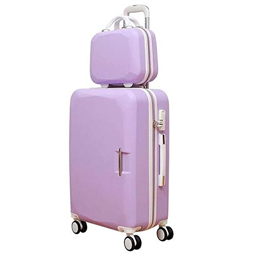 Mdsfe ABS + PC travel suitcase trolley Rolling luggage 20 '' carry on Cabin suitcase spinner wheels 26 big luggage bag Women luggage men - purple set, 26'