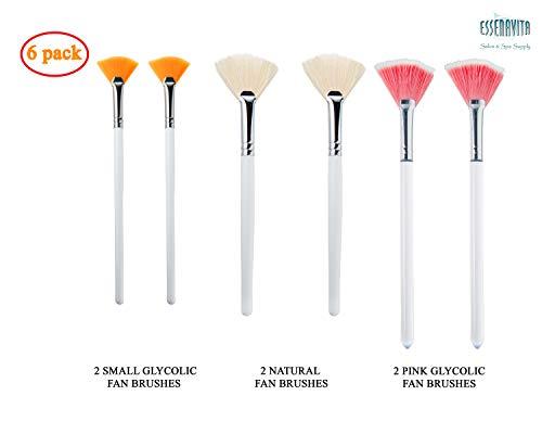 essenavita fan mask brush set of 6 pieces mask application fan brush glycolic fan brush boar head fan brush