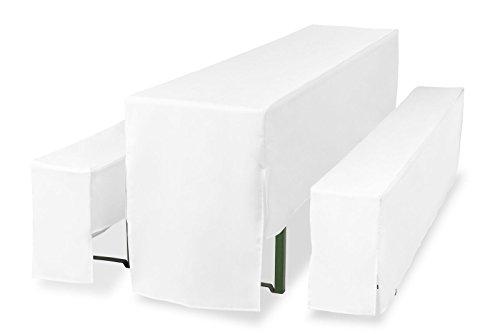 TexDeko Hussen für Bierzeltgarnitur, Bierbankhussen 5tlg. Set 3/4-lang Premium Pro. 220cm (Tischbreite: 50cm, Weiß mit Polsterung