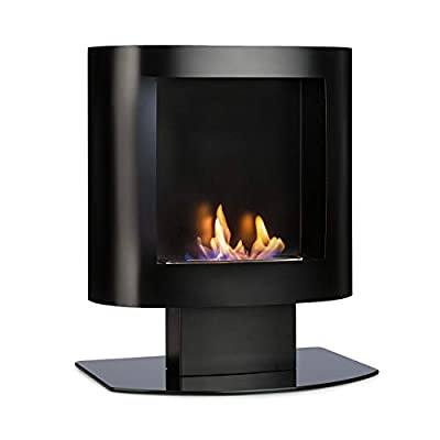 OneConcept Phantasma Tower Ethanol Fireplace - Wall/Standing, Safety Burner w/ 600 ml, 4 Hours Burn Time, Odourless, Safety Glass, Combustion Chamber w/Extinguishing Plate, Stainless Steel, Black
