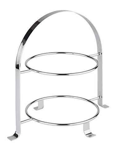 APS Serviergestell – Hochwertiges Serviergestell, Etagere aus verchromtem Metall für zwei Teller mit einem max. Ø von 27cm – Die Gesamthöhe beträgt 30cm