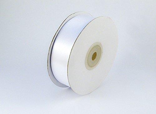 MOVONO Satinband 27 Meter x 25 mm in weiß - Hochzeit Dekoband Geschenkband Party Nähen Basteln Autoschleife (25mm, weiß)