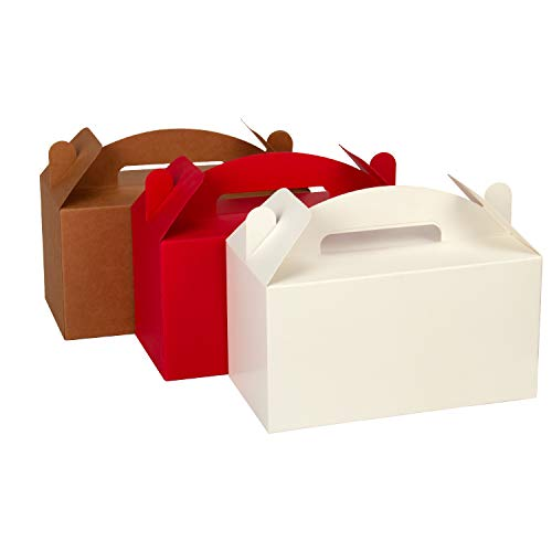 LaRibbons 12 Pack Treat Gift Boxes - 9.5 x 5 x 5 inches Multi Red White Brown Paper Box Recycled Kraft Gift Box Birthday Party Shower Favor Box