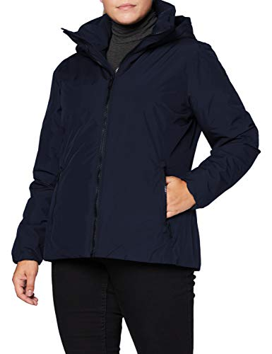 Cmp Piumino Reversibile Waterproof con Cappuccio, Giacca Donna, Black Blue, 46, Black Blue