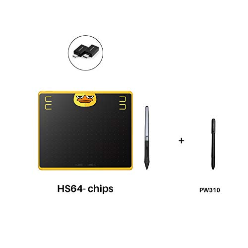 Huion HS64 Chips Graphics Drawing Tablet 6.3'x 4' Battery-Free Stylus Android Devices Supported (Special Edition) with PW100 and Huion Scribo PW310