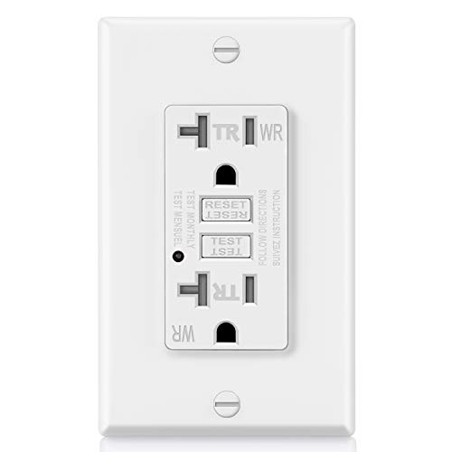 ELECTECK 20A GFCI Outlet, Weather Resistant (WR) GFI with LED Indicator, Tamper Resistant (TR) Ground Fault Circuit Interrupter, Decor Wall Plate Included, ETL Certified, White