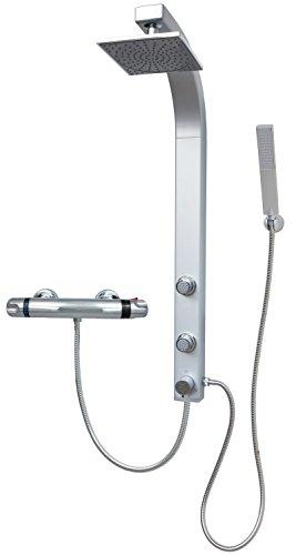 Duschpaneel Brausepaneel Duschsäule Duschsystem Komplettdusche Thermostat Armatur große Regendusche mit 2 Massagedüsen hochwertigem Kunststoff Handbrause Duschkopf Duscharmatur Wandmontage Silber