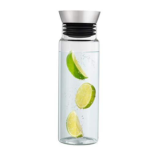 Navaris Jarra de Vidrio para Agua - Botella de Cristal de borosilicato de 1 L con Tapa y vertedor - Garrafa para Agua fría y Caliente té Zumo Nevera