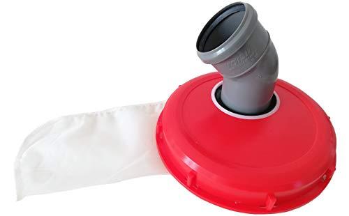 Couvercle IBC avec filtre en nylon lavable pour réservoir à eau de pluie IBC 1000 L - Excellente qualité 220mm 45 Grad Bogen