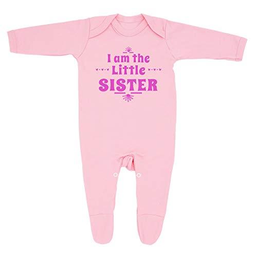 """Pijama para niña con texto en inglés """"I Am The Little Sister"""", diseño de baberos y baberos con texto en inglés """"I Am The Little Sister"""", 100% algodón peinado fino."""