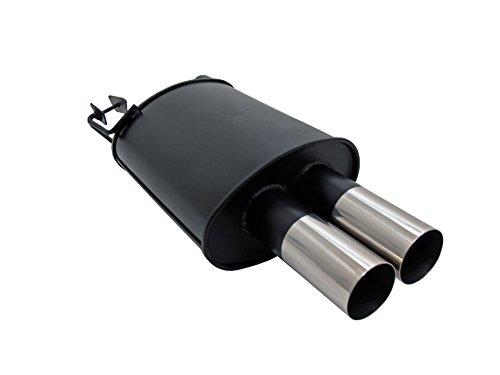 JOM Car Parts & Car Hifi GmbH 89071 Stahl-Endschalldämpfer mit 2X 76mm Endrohren gerade