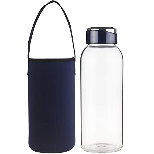 SHBRIFA Botella de Agua de Vidrio de Borosilicato 1000ml / 1500ml, Botella de Agua de Cristal con Funda de Neopreno y Tapa de Acero Inoxidable a Prueba de Fugas(1500ml Azul Real)