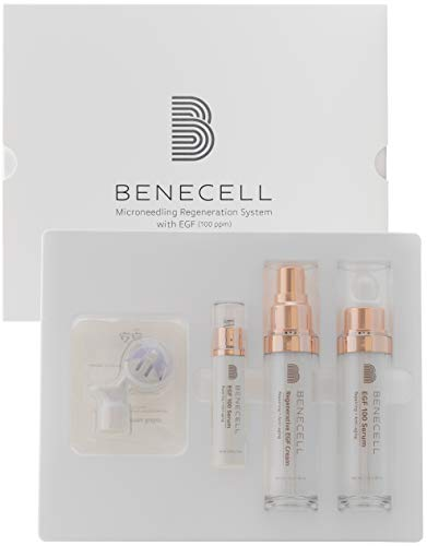 BENECELL Microneedling Regeneration System with EGF Serum(100ppm), a high EGF concentration with Liposome Technology, Regenerative EGF Cream, a Microneedling roller with an extra EGF 100 Serum(10ml)