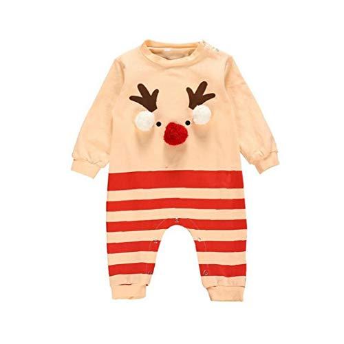 Nicedier Disfraces de Navidad Mono del bebé Elk algodón Lindo Festival de Arrastre de Manga Larga para niños pequeños Monos 60cm
