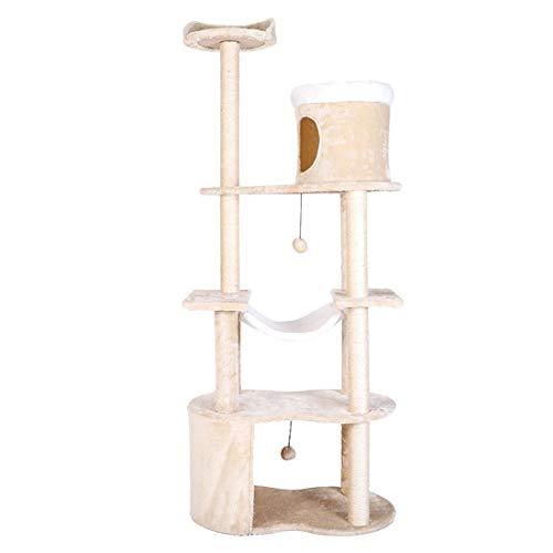 YUYAXCT Stevige Cat Boom Cat Toren met Sisal-Covered Scratching Posts Hangmat Platform Pluche Condo Pluche Ballen, Activiteitscentrum voor Kittens H:161 CM Speelgoed