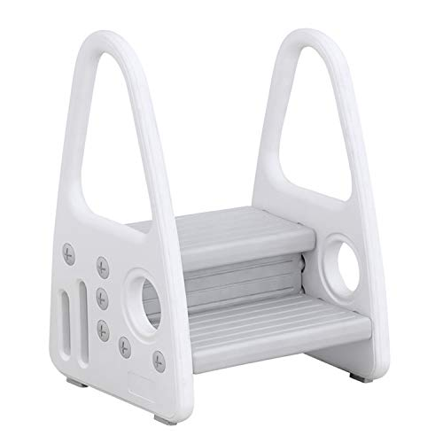 Wiifo Toddler Step Stool, Kids Two Step Stool for Bathroom Sink, Toilet Potty Training, Kitchen Counter, Children Step Up Learning Helper with Safety Handles and Non-Slip Pads,Gray