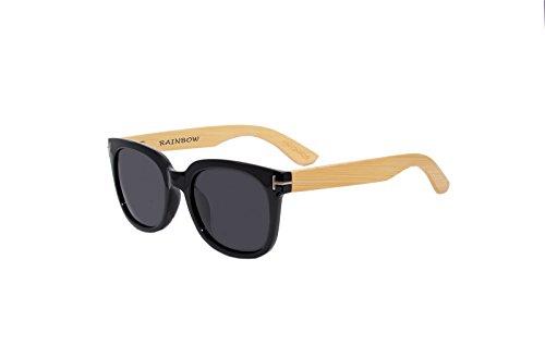 Rainbow Safety - Gafas de sol polarizadas de madera vintage para mujer y hombre, color gris