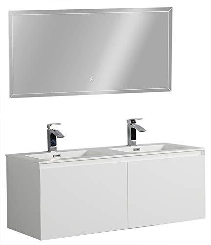 Bernstein baño Shop–Set de muebles de baño Luna 1200color blanco mate–Espejo opcional, brillante, Mit Spiegelschrank G1200