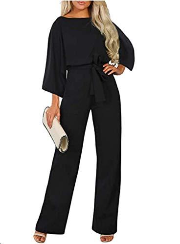 Dokotoo, Mono Largo de Manga 3/4 para Mujer, Mono Elegante de una Pieza, Pantalones sin Espalda Sexis con Cuello Redondo y cinturón Negro XL