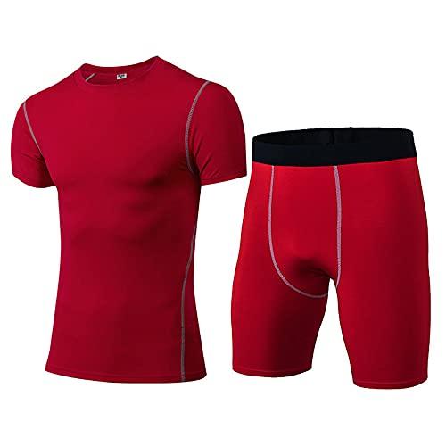 Musculosa Shirt Hombre Verano Cuello Redondo Ajustado Moderno Hombre Compresión Shirt Urban Básico Ajustado Elástico Manga Corta Set Casual Secado Rápido Funcional Shirt B-Red S