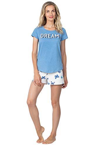 PajamaGram Pajamas for Women Cotton - Womens Pajamas Short Sets, Blue, Large / 12-14
