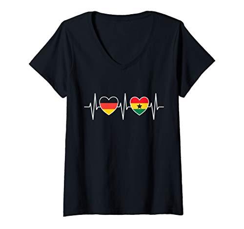 Damen Deutschland und Ghana Flaggen Fahnen Herz T-Shirt mit V-Ausschnitt