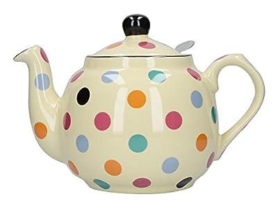 London Pottery - Tetera con infusor (cerámica, 4 tazas, 1300ml), diseño de lunares, color blanco y blanco