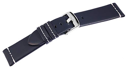 Excellanc - Pulsera de Piel para Hombre con Costuras Blancas, 18 cm, Color Azul