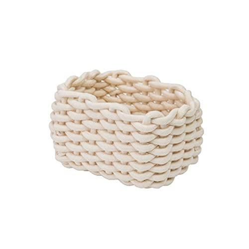 MUFENA Cestas tejidas de cuerda, cesta de almacenamiento tejida de cuerda de algodón grueso, perfecto para almacenar pequeños artículos del hogar, cajones superiores, aparador
