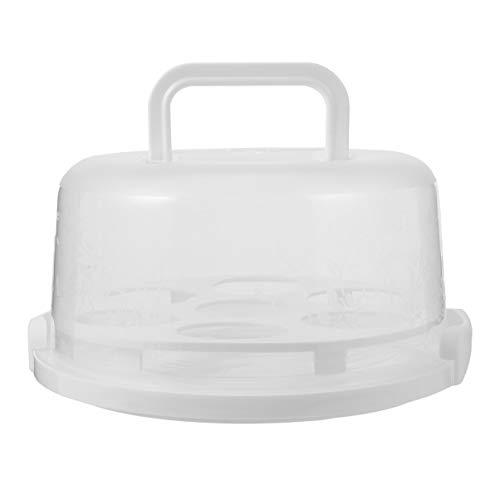 Hemoton Blocco per Torte E Portacandele con Vassoio Porta Cupcake Portatile con Manico E Coperchio 25X22x12 Cm Bianco