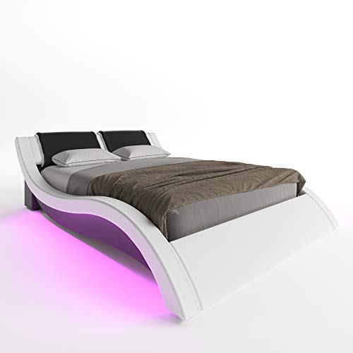 ZTOZZ Milan Wave Like Led Bed Frame Full Size - Contemporary Modern Curved PU Upholstered Platform Bed with Designer Led Lights Headboard - White+Black Color