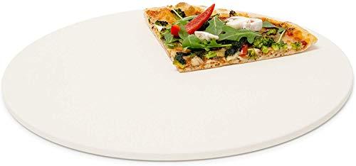 Relaxdays Pizzastein rund, Steinplatte für Pizza & Flammkuchen, Backstein für Ofen & Grill, Cordierit, 33 cm Ø, beige