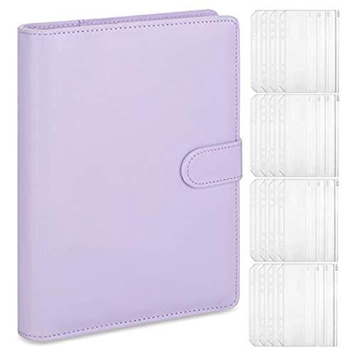 Monland A5 Leder Notizbuch Binder mit 16 StüCk A5 Kunststoff Binder Taschen, Budget Umschlag System, A5 Budget Planner Binder Abdeckung A.