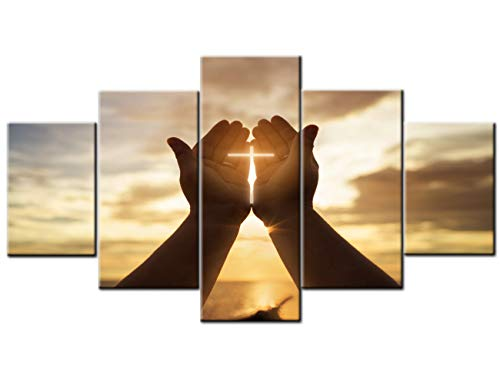 TUMOVO Wall Crosses Decor Jesus Hands Prayer Paintings Wall Art Panels Large for Living Room Christian Pictures 5 Piece Canvas Modern Artwork Home Decorations Giclee Framed Ready to Hang(60  Wx32  H)