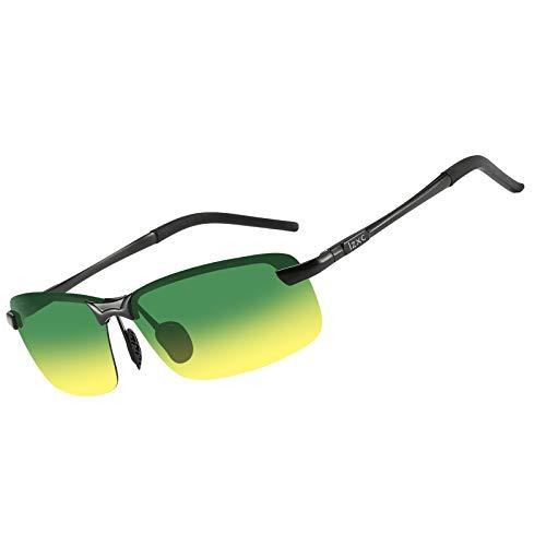 LZXC Herren Polarisierte Sonnenbrille, Tag und Nacht Autofahren Brille, Schwarzer Rahmen mit Tag-Nachtsicht Linse