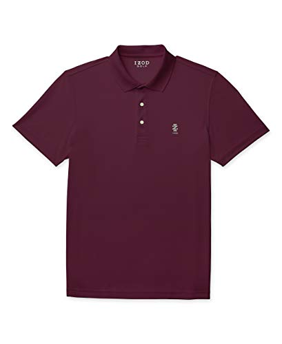 IZOD Men's Performance Golf Grid Short Sleeve Stretch Polo Shirt, FIG, X-Large