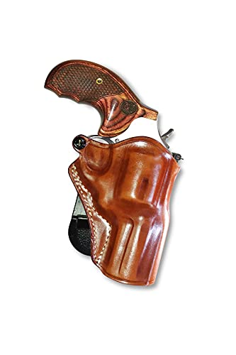 Premium Leather OWB Paddle Holster Open Top Fits S&W Model 686 Plus 357 Magnum 7-Shot Revolver 3''BBL, Right Hand Draw, Brown Color #1465#