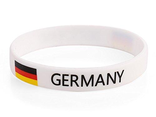 Komonee Deutschland Weiß Weltmeisterschaft Olympia-Silikon-Armbänder (10er Pack)