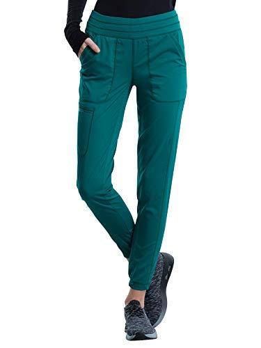 Cherokee Workwear Revolution Women Scrubs Pant Natural Rise Jogger WW011P, S Petite, Hunter Green