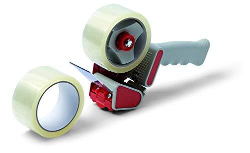 Schuller Eh'klar patentierter Handabroller inkl. 2 Rollen Schuller-Box Verpackungsbänder 50m, transparent, 44991