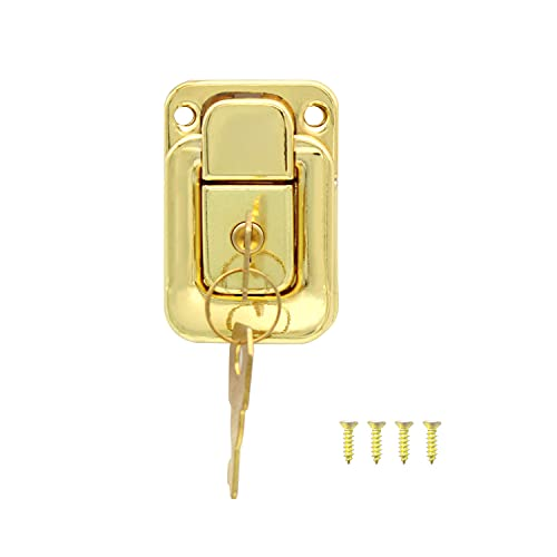 KYLEHOPE Hasp Jewelry Cases, Golden Decorative Hasp Comes with Golden Screws and Golden Keys, Mini Lock for Gift Boxes, DIY
