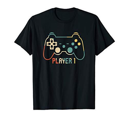 Herren Vater Sohn Shirt Partnerlook Gamer Player 1 T-Shirt
