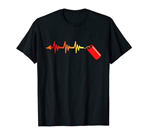 Pyromane Böller EKG Zündschnur Silvester Feuerwerk Liebhaber T-Shirt