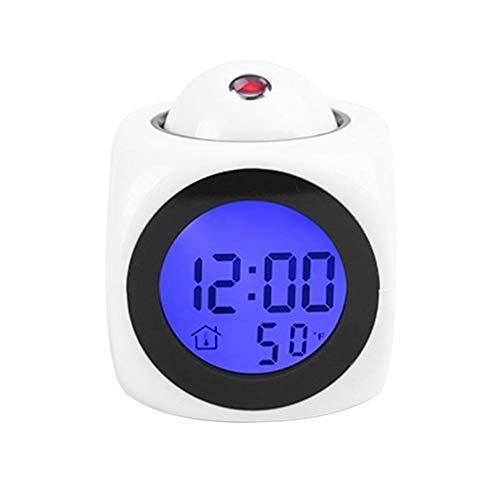 Erinnern Sie den Alarm rechtzeitig, um Ihre Reise zu planen LCD-Projektions-Stimme Stimme Wecker Backlit-elektronische Digital-Projektor-Uhr-Uhr-Temperatur-Anzeige ( Color : Square white )