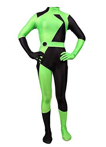 SPMcos Womens Shego Cosplay Costume Bodysuit Halloween Kim Jumpsuit Zentai Onesies Outfit (Green, M)