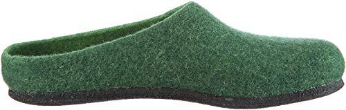 MagicFelt Hausschuh AN 709 aus Reiner Schurwolle - Damen und Herren Pantoffeln - rutschfest und anatomisch geformt in Grün (Dark Green 4818), 42 EU (8 Erwachsene UK)