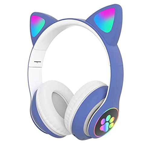 YRX Auriculares con Cancelación De Ruido Auriculares Inalámbricos Bluetooth 5.0 con Micrófono, Adecuados para Aulas En Línea/Oficina En Casa/PC/Dispositivos Móviles,Azul