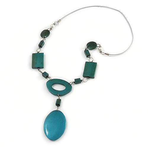 Avalaya Statement Teal Wood Bead Geomentric Silver Cord Necklace - 66cm L/ 13cm Front Drop